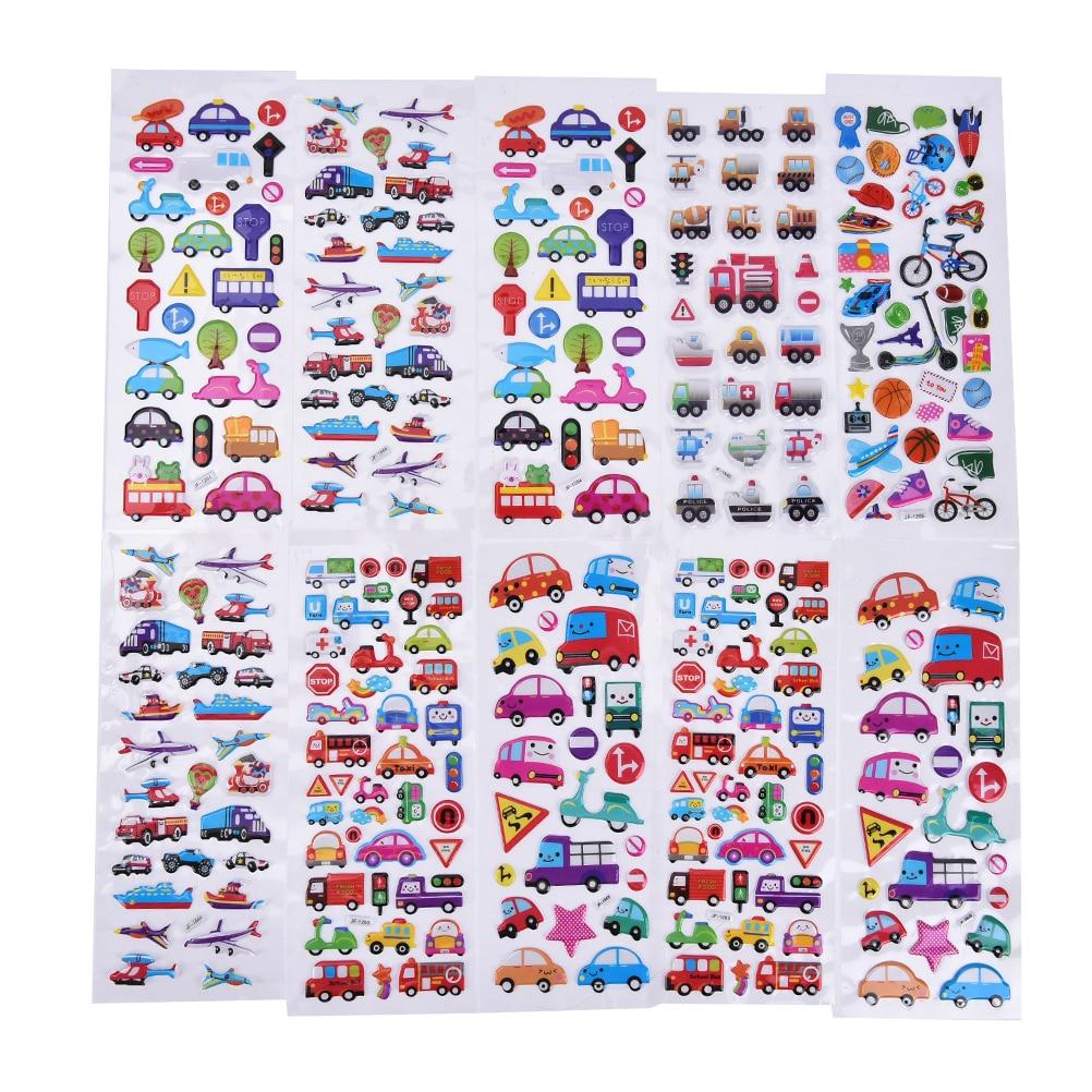 6PCS / lot Mixed Cartoon Bubble Stickers Transport Cars Children Kids Girls&Boys Cartoon Stickers Decoration Christmas Gift christmas cartoon owl removable nursery animal wall stickers