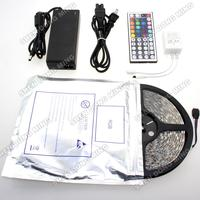 Free Shipping Hot sale suit set rgb led strip waterproof 5050 IP65 5M 300 LEDs/Roll+44 keys IR Remote+12V 6A Power Adapter