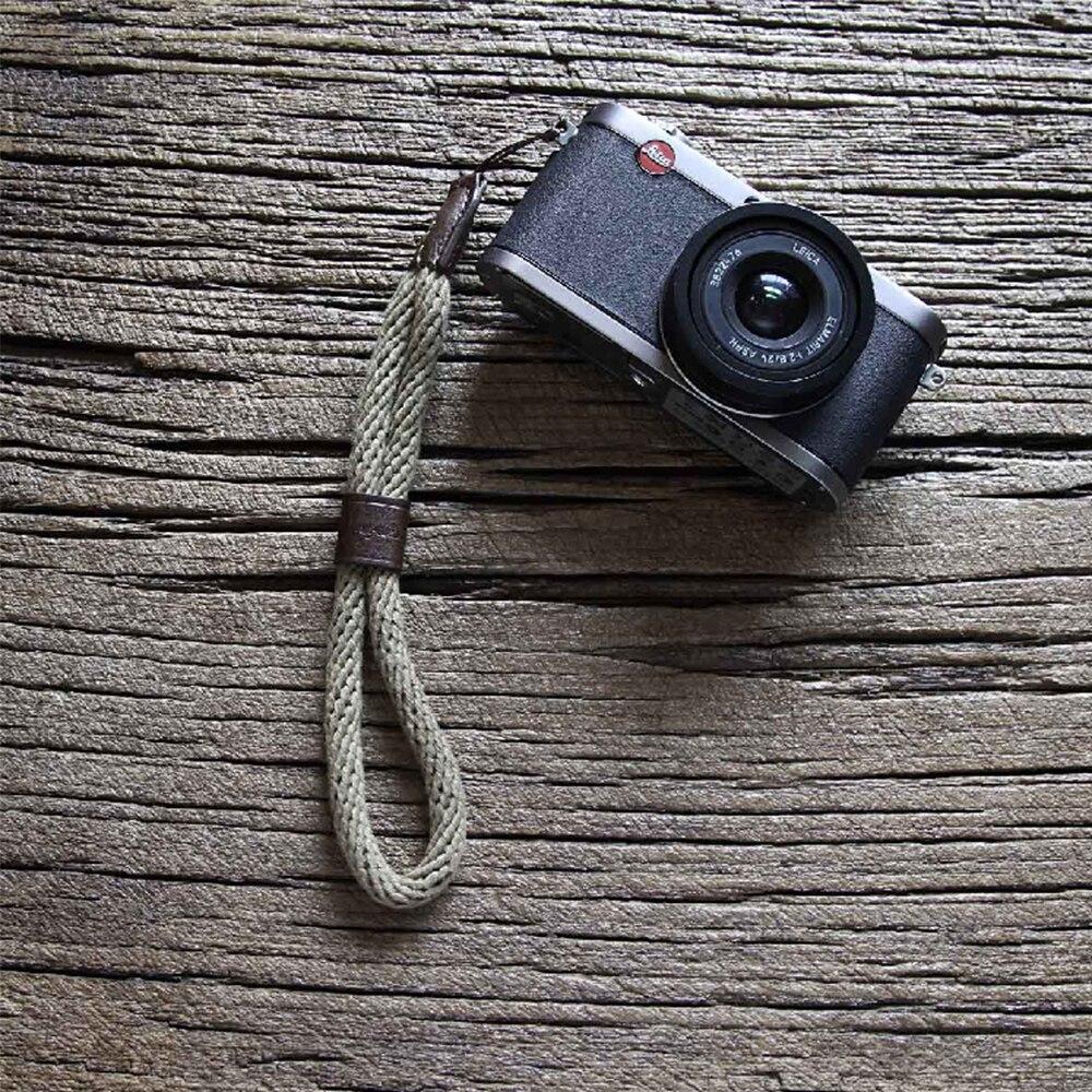 Tüketici Elektroniği'ten Kamera Kayışı'de Cam in WS024 inek derisi ve pamuk bant kamera bilek kayışı deri DSLR spire lamella el kemeri fotoğraf aksesuarı 27.5cm uzunluk title=