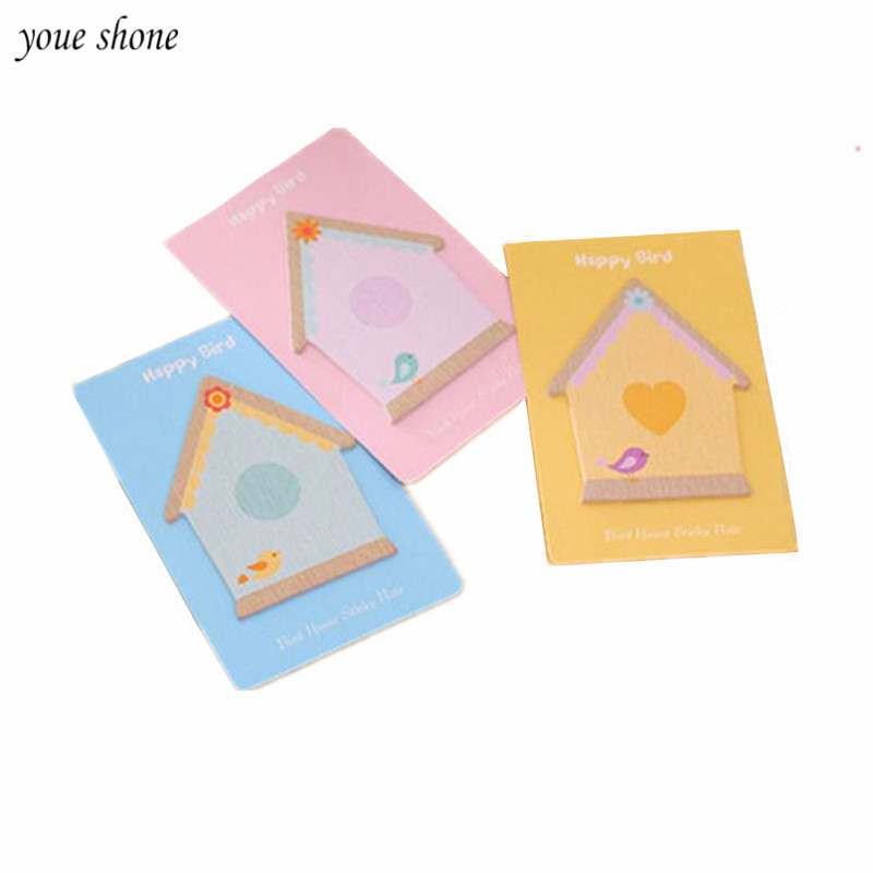 3PCS Creative House Style Sticky Notes Cartoon Messager Paper Sticky Notepad Memo Shaped Post It Index Planner Free Shipping