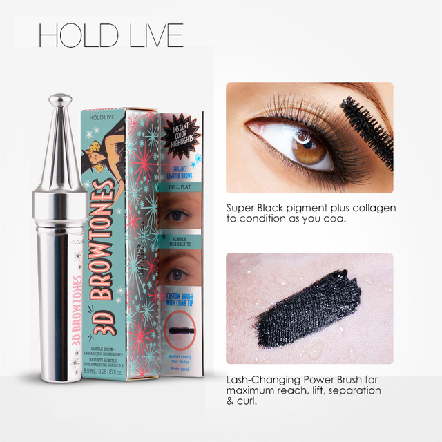 09f9f717e2c HOLD LIVE 3D Fiber Lashes Mascara Volume Waterproof Lengthening Mascaras  Black Color Natural False Lash Eyes