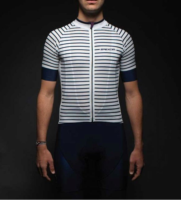 ENJOY RIDE SPEXCEL NAVY stripe DESIGN high quality FABRIC SLEEVE LIGHTWEIGHT PRO TEAM SHORT CYCLING JERSEY ROAD CYCLING GEAR navy backless design stripe sleeveless middle waisted active tracksuit