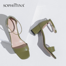 SOPHITINA Casual Genuine Leather Solid Ladies Sandals Fashion Buckle Strap Square Heel Shoes Basic High Heel Women Sandals SO200 summer women sandals shoes genuine leather flock nubuck pearl buckle strap solid fashion sweet casual princess square high heels