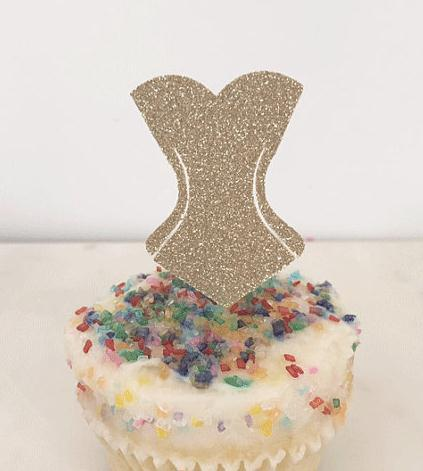 glitter corset lingerie shower cupcake toppers wedding birthday fruit picks bridal baby shower party decorations