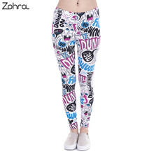 Zohra Brand New Fashion Women Leggings Dummy Doodle Printing leggins Fitness legging Sexy High waist Woman pants