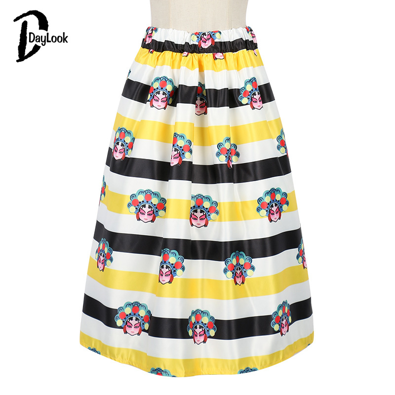 Daylook лето chic vintage черный цветочные мода юбки женская плиссированные юбки конькобежец юбка элегантный высокой талией midi бальное платье