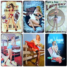 New Sexy Beautiful Chic Home Bar Vintage Metal Signs Home Decor Vintage Tin Signs Pub Vintage Decorative Plates Metal Wall Art