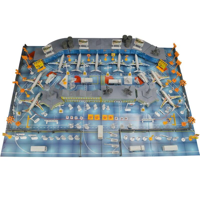 200pcs Aircraft Set, Airplane Static Scene Model Toys, Simulation Airport Property, Waiting Hall+Plane+Bus+Fence+Radar+Travelers