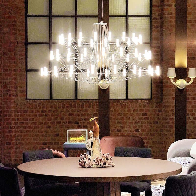 Geometric bird cage lamps living room hanging lights Eiffel Tower chandelier postmodern creative personality chandeliers
