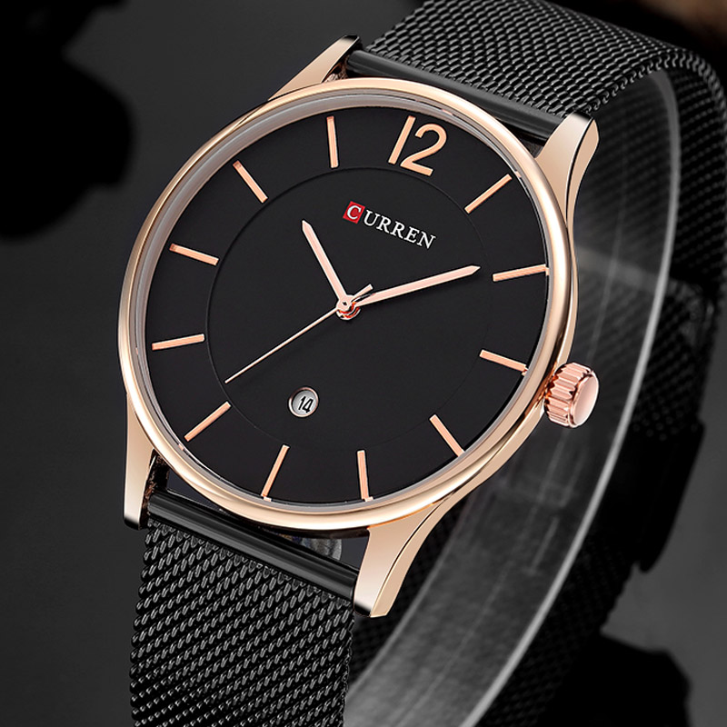 CURREN Top Watches Men Luxury Brand Mesh Steel Strap Slim Male Clock Men Watch Business Fashion Casual Watches relogio masculino lacywear s 52 mag