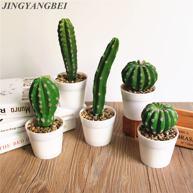 1 Set Artificial Cactus Potted Plant Vase Simulation Tropical Plants  Wedding Decoration For Home Office Table