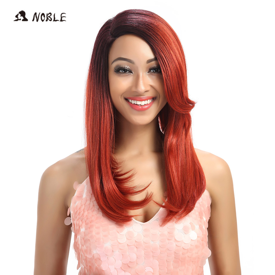 Noble Trendy Lace Wig High Temperature Fiber Straight Synthetic Hair Wigs For Black Women Ombre 99J Cosplay Wig Free Shipping ...
