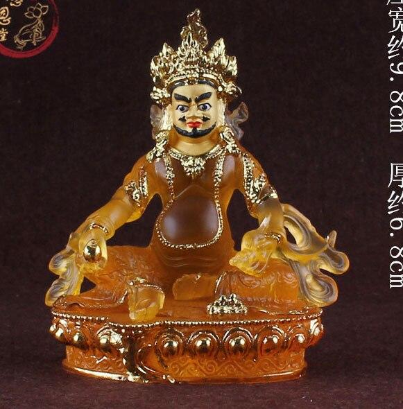 special offer # 2018 HOME patron saint  efficacious Protection # Buddhism Buddha gilding Yellow Jambhala Zanbala crystal statue