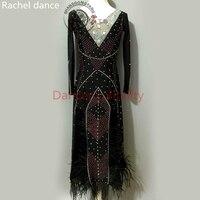 2017 New Standard Ballroom Dress Women Diamond Style Long Sleeves Salsa Tango Rumba Flamengo Latin Dance Competition Costumes