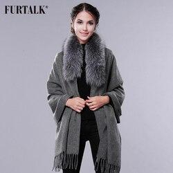 FURTALK Kasjmier Wol Sjaal Pashmina Kasjmier Bont Sjaal Vrouwen Real Fox Bontkraag Winter Lange Warme Bont Sjaal Wasbeer sjaal