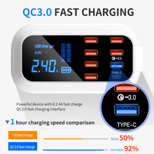 8 Ports Quick Charge 3.0 Led Display USB Charger For Android iPhone Adapter Phone Tablet Fast Charger For xiaomi huawei samsung
