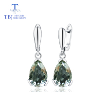 цена на TBJ,big Drop Earrings with natural green amethyst gemstone in 925 sterling silver fine jewelry for women & girl with gift box