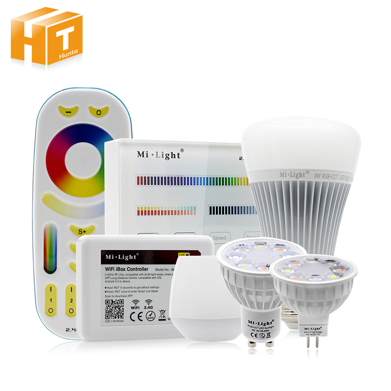 Mi light Full Color LED Bulb LED Spotlight GU10 MR16 4W E27 8W RGB+CW+WW Remote Control Smart Lighting original xiaomi mi yeelight e27 8w white led smart light bulb smartphone app wifi control 220v
