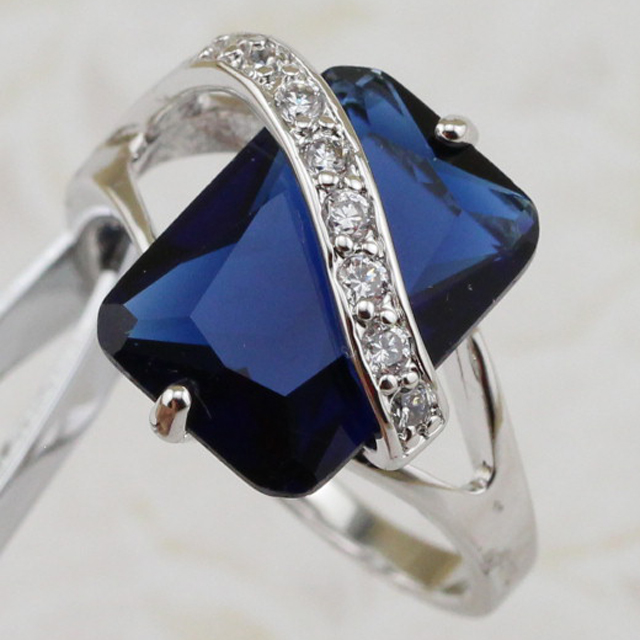 Size #6 #7 #8 #9 #10 Marvelous Nice London Blue CZ Gems Ring Rhodium Plated Jewelry Gift For Women MB254C