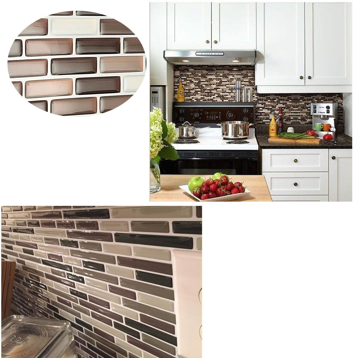3d Foil Sticker Mosaic Tile Wall Sticker Red Brick Bathroom Kitchen  Removable Diy Self Adhesive Wallpaper Home Decorationin Wall Stickers From  Home