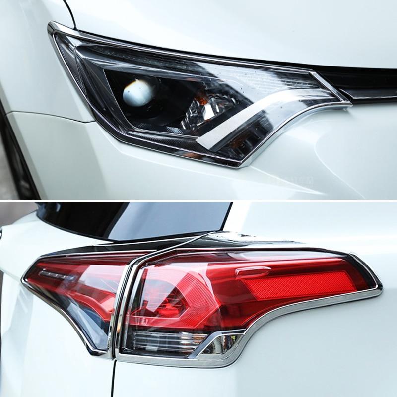цена на For TOYOTA RAV4 2016 2017 2018 ABS Chrome Front Head + Rear Tail Light Lamp Cover Trim 6pcs