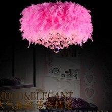 Многоцветный перо подвесные светильники детская комната висит кристалла подвесной спальня малыша свадьба светильник