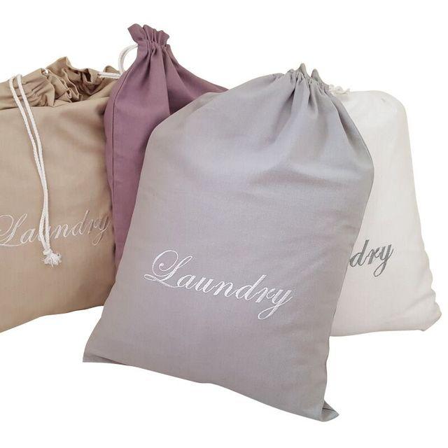 4 Colors Embroidery Pattern Laundry Bag PouchCotton Canvas Storage Bag For Toys Clothes Kids