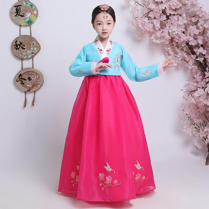 Children Embroider Korea Hanbok Dress Traditional Wedding Palace Hanbok for Women Vintage South Korean Minority Dance