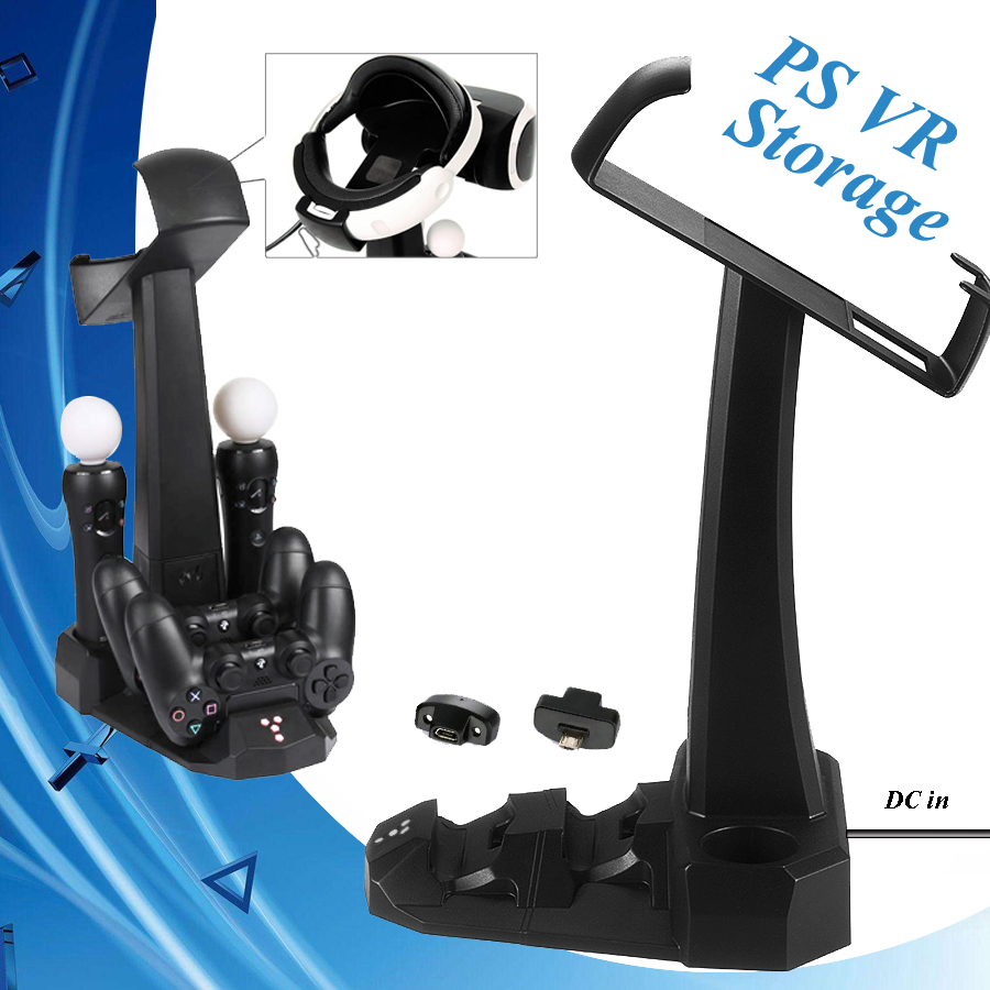PSVR PS 4 Move Charging Dock Station Charger Stand & PS4 Controller Charging Dock & PS VR Storage Showcase PS4 Games Accessories image