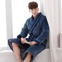 Hot Sale Coral Fleece Couples Bathrobe Thick Quilted Flannel Bathrobe Thickening Terry Women Cotton Robe Men