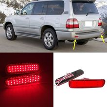 CYAN SOIL BAY Red Lens LED Rear Bumper Reflector Tail Brake Stop Light For Toyota Land Cruiser 98-07 For Lexus LX470