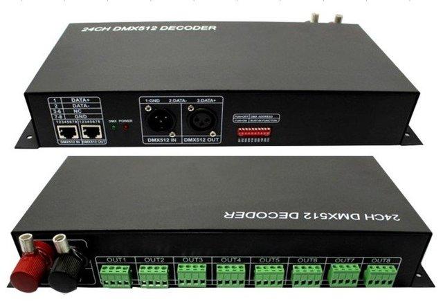 24 channel dmx constant voltage decoder,DC12-24V input,3A*24channel output;LN-DMXTCON-24CH-DC12-24V