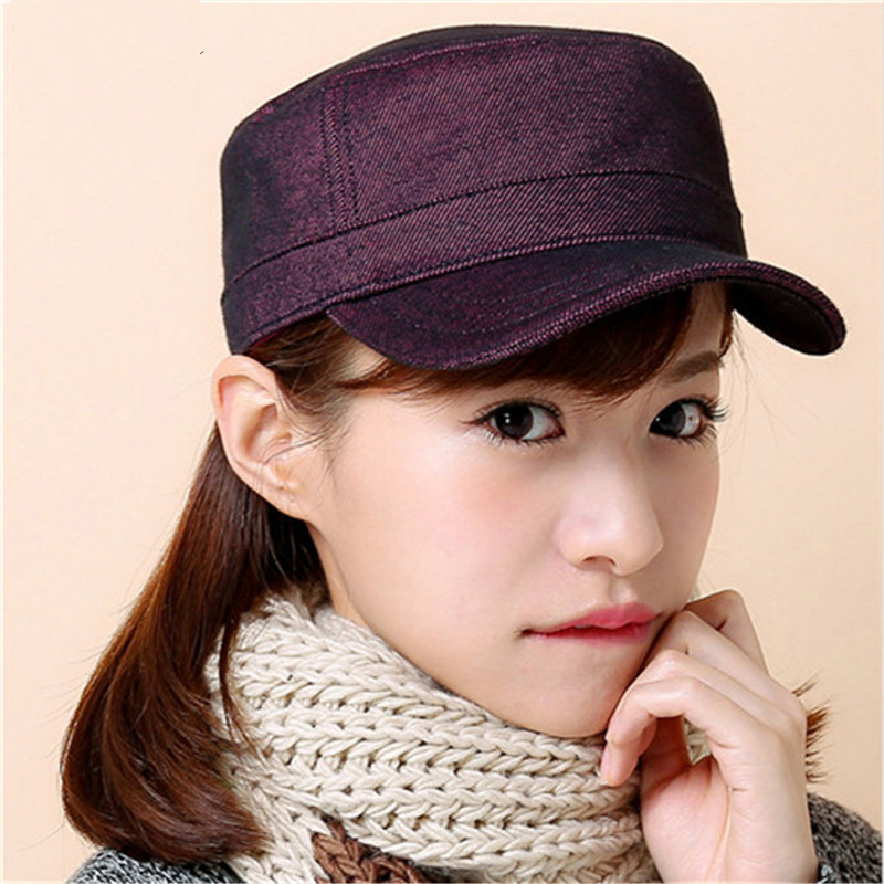 New Fashion baseball cap women Spring Summer and Autumn jean Flat top hat women's and ladies Simple Solid Hats 2016 new fashion baseball cap women