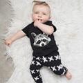 Bebê Infantil Conjunto de Roupas Novo 2016 Verão Dos Desenhos Animados de Algodão Puro esquilo T-shirt + Calças de Duas Peças Terno para Os Meninos Roupas BBS057