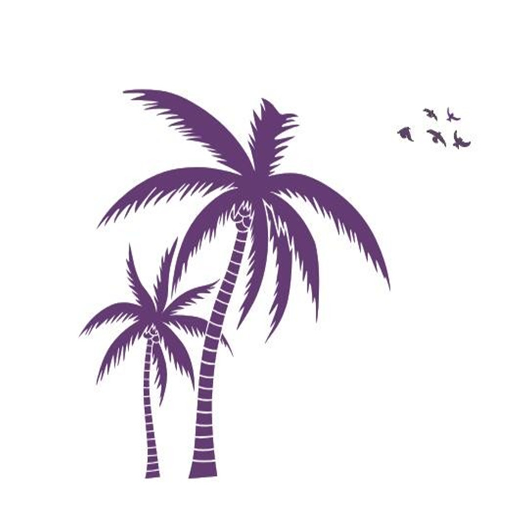 Coconut Tree Wall Decal Beach Palms Cononut Tree Wall Art Sticker Plant Wall Paper Bedroom Living Room Office Home Decoration