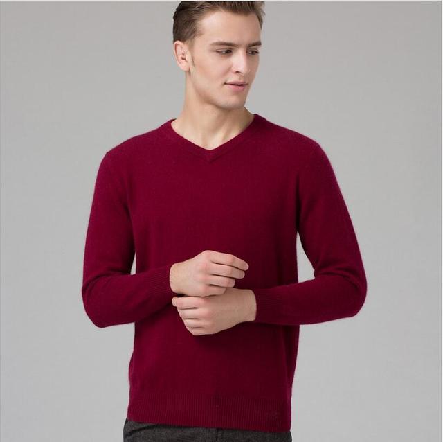 Homem camisola 100% suéter de cashmere puro Calientes Ponto Blusas de Inverno blusas Com Decote Em V Manga Comprida Jumper de Padrão Masculino 8 cores