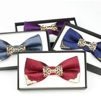 High Quality 2017 New Fashion Bow Ties For Men Wedding Luxury Metal Bowtie Club Anniversary Gold