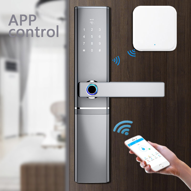 App Bluetooth Wifi Gateway Doorlock Fingerprint Smart Lock Passcode IC Card Locks Anti theft Indoor Electronic