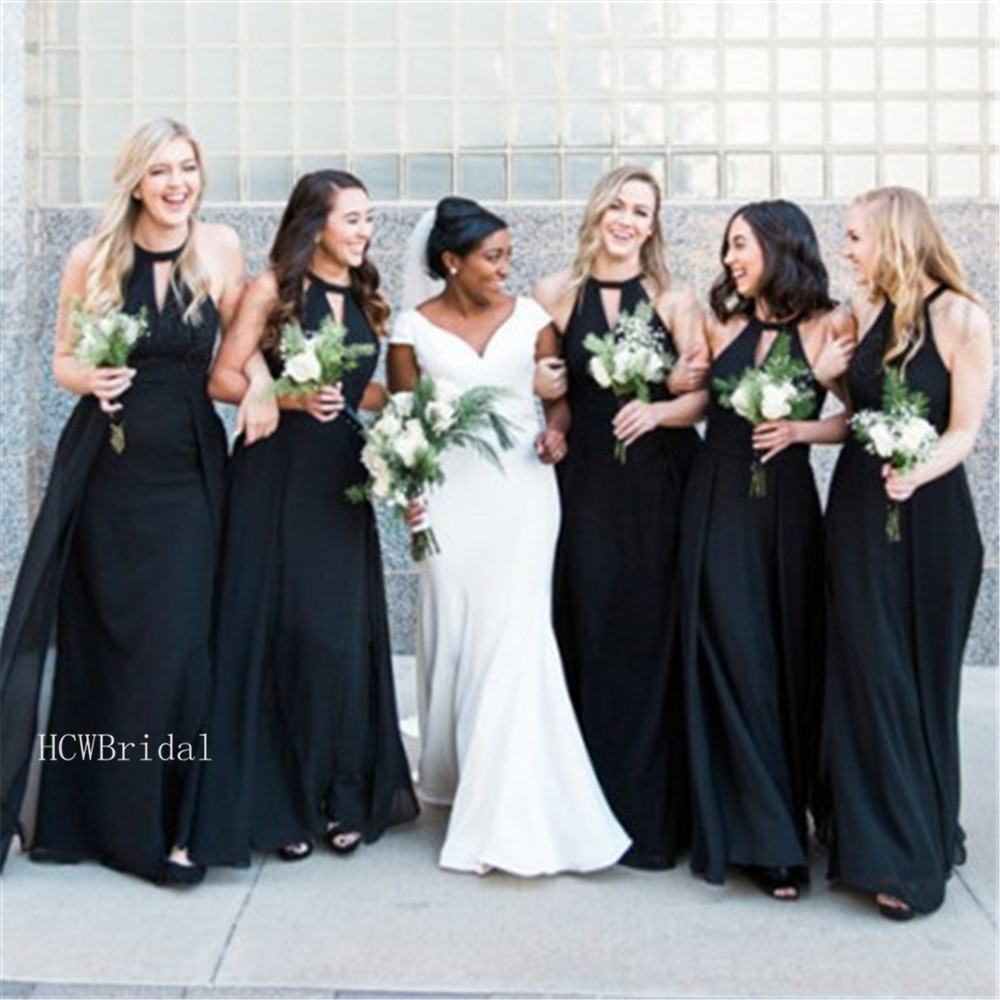Black Chiffon   Bridesmaid     Dresses   2019 High Quality O Neck A Line Floor Length Long Maid Of Honor Gowns Cheap Wedding Party   Dress