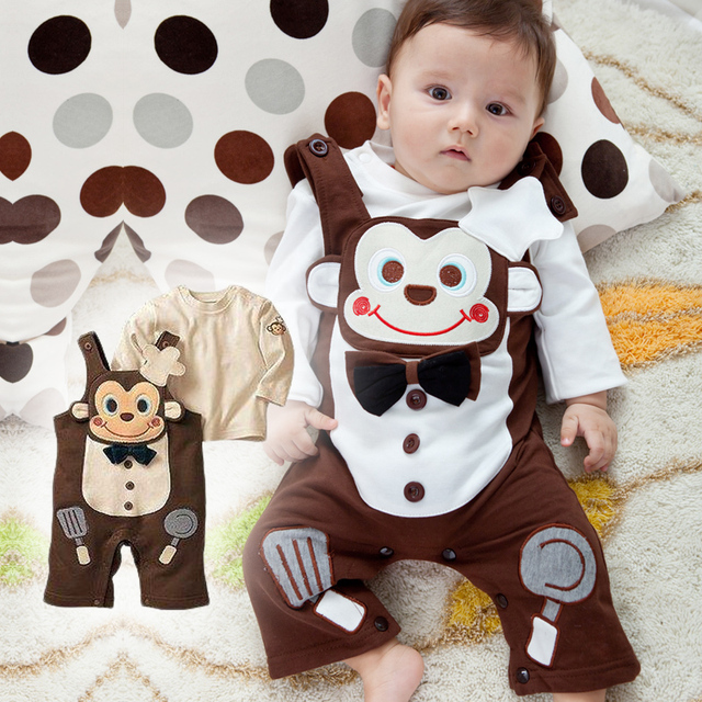 Sale0-2age baby clothes bib pants monkey long-sleeve romper baby spring and autumn summer bodysuit FREE SHIPPING