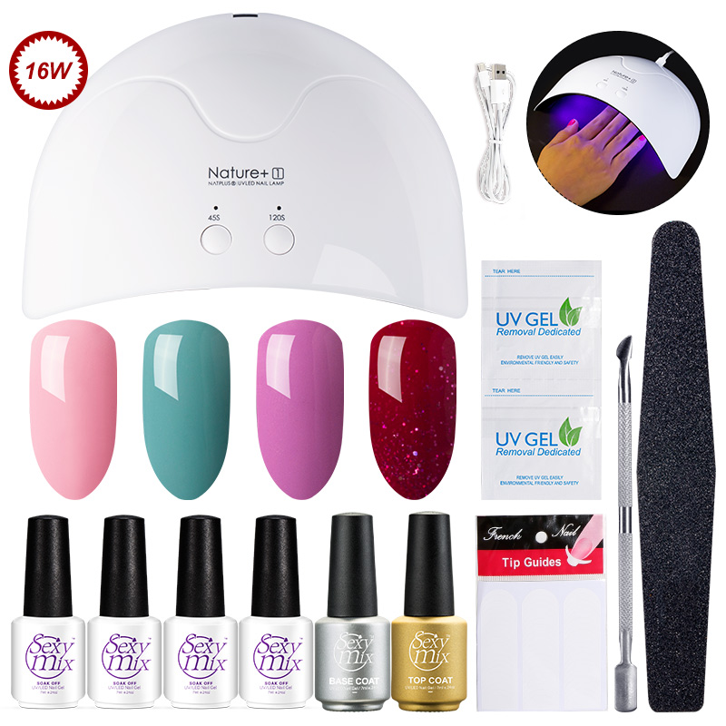 Sexy Mix Beruf Nagelkunstwerkzeuge Set 16 Watt UV Nageltrockner Lampe 3 Gelpoliermittel 2 stücke UV Gel Basis Top Mantel mit Remover Maniküre Kit
