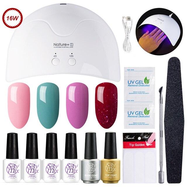 Sexy Mix Profession Nail Art Tools Set 16w Uv Nail Dryer Lamp 3 Gel