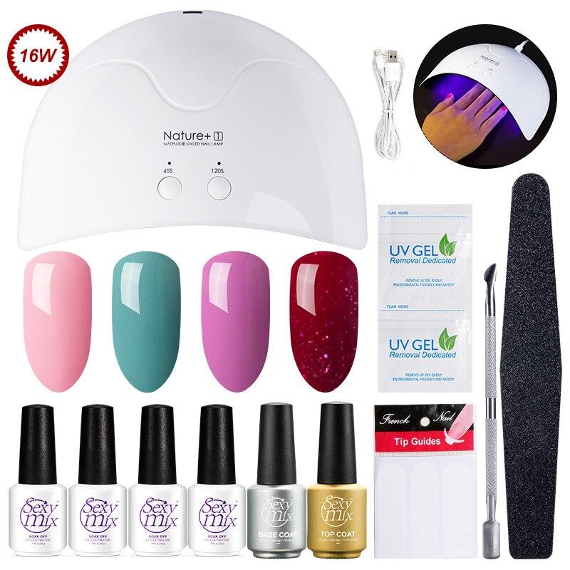 Sexy Mix Profession Nail Art Tools Set 16W UV Nail Dryer Lamp 3 Gel Polish 2pcs UV Gel Base Top Coat with Remover Manicure Kit