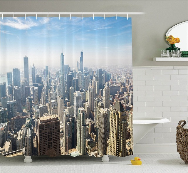 Shower Curtain Aerial View of Chicago City USA Tall Buildings ...