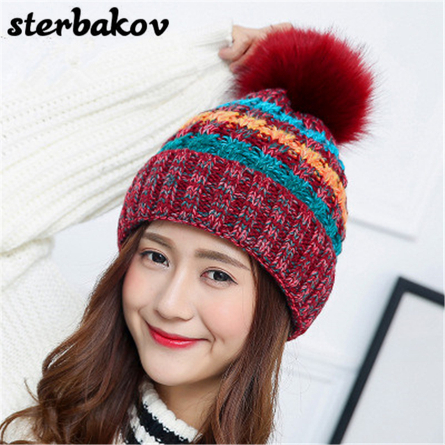 Pom Pom Fashion Hat For Women Grils Skullies Hat Women s Knitwear Hot Spot  FemaleWinter Hat Brand Name Beanie Hats wholesale 556e874caa8