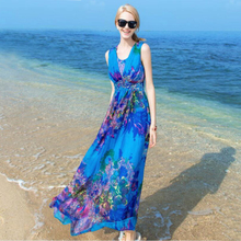 Women 100% Silk dress Beach Natural Blue Floral Print Holiday summer dresses Free Shipping HOT Sell