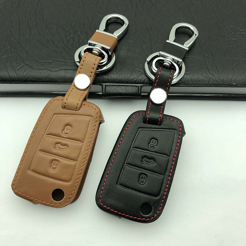 Gzyoumei Leather Key Case Key Cover For Volkswagen VW Golf