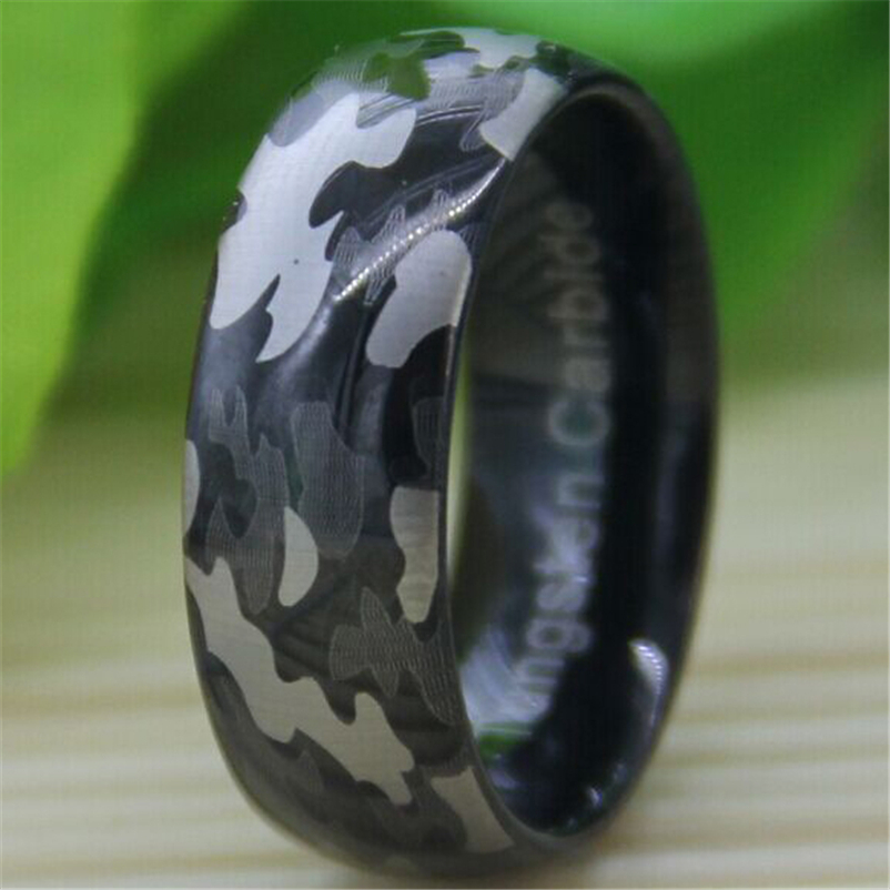 Free Shipping Top Quality Fine Jewelry Hot Sales 8MM Black Dome The Camo Military Engraved Men
