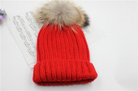 The new pure color fur hat women's version of the Korean thermal knitted hat 100 head set