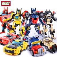 4pcs/lot GUDI 4 in 1 Transform Robot Car Turn Into Robot Creator Building Blocks Mini Bricks Set Toys Boy Gift for Children 8708